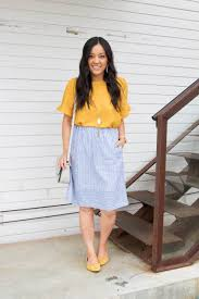 Light Blue Striped Skirt Four Ways To Wear The J Crew Factory Blue Striped Skirt 6