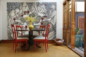 indian pop art dining room contemporary with round dining table drum chandeliers