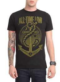 All Time Low T Shirt Design Black Slim Fit T Shirt From All Time Low With Large Metallic