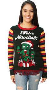 Ugly Christmas Sweater Women\u0027s Feliz Navidad Cactus LED Light Up - Walmart.com