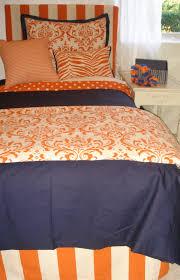 auburn custom orange and blue damask dorm room bedding and decor set