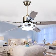 2018 48 inch modern ceiling fan led 3 changing light remote control home indoor ceiling fans chandelier 5 stainless steel reversible blades from flymall