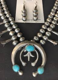 native american squash blossom necklace set