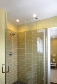glass walk in shower in olive green