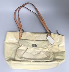 Image is loading Coach-Leah-Handbag-Tote-White-Yellow-Cream-Patent-