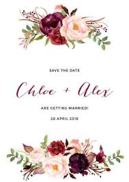 Save The Date Cards Template Burgundy Amour