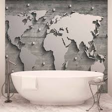 wall mural photo wallpaper l world map concrete wall 10420ws