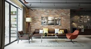Decorations : Prodigious Polished Use Of Exposed Brick Accent Wall Ideas  With Brown Sofa Sets Also White Standing Lamp Plus Glass Sliding Door  Natural ...