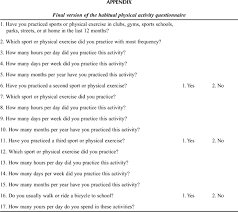Health And Fitness Survey Questions Development And Validation Of A Physical Activity Assessment