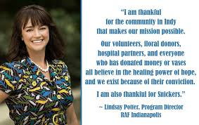 """Random Acts of Flowers Indianapolis - """"I am #thankful for the community  that makes our mission possible. Our volunteers, floral donors, hospital  partners, & everyone who has donated all believe in the"""
