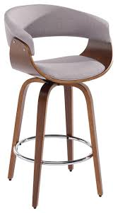 Inspire - Bentwood and Fabric Counter Stool, Charcoal Gray, 26