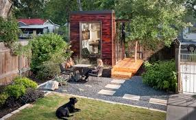 however a rectangular line at the top of the pile is where the office windows are located the exterior design of the studio blends well with the backyard shed office