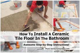 laying floor tiles in bathroom