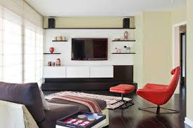 los angeles brown floating shelf family room midcentury with media wall rectangular area rugs white trim