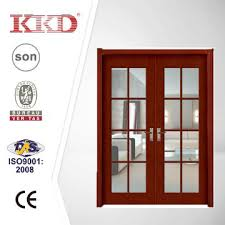 glass inserted doubled solid wood door mj 230 for interior use