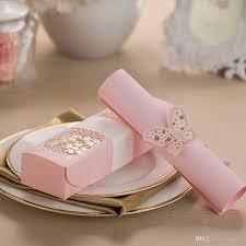 Pink Laser Cut Scroll Wedding Invitations Engagement Flora