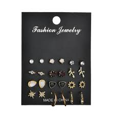 Cyc Design Wholesale Misscycy 12 Pairs Set Unique Design Vintage Small Stud Earrings Set For Women Punk Alloy Leaves Star Earrings Jewelry