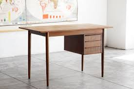 danish modern wood desk with floating drawers  rehab vintage