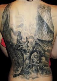 фото тату черно белый дракон и девушка татуировки и эскизы драконы