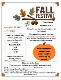 Fall Festival Flier Fall Festival Saratoga Elementary School Pta