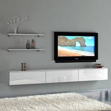 Living Room Awesome Grey White Wood Modern Design Elegant Wall With Floating  Cabinet Inspirations 14