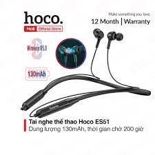 Tai nghe thể thao Hoco ES51 bluetooth V5.0 dung lượng pin 130mAh, thời gian  chờ 200 giờ, đàm thoại/nghe nhạc 10 giờ - Tai nghe có dây nhét tai
