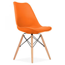 orange soft pad dining chair with dsw style wood legs  kitchen