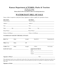 Watercraft Bill Of Sale Form Kansas Free Download