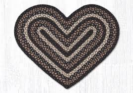 20 x 30 mocha frappuccino braided jute heart shaped rug