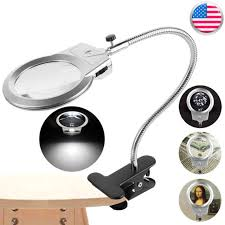 clip lighted table top desk magnifier lamp led light magnifying