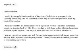 Veterinary Technician Cover Letter Sarahepps Com