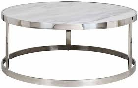 levanto marble top round coffee table with stainless steel frame