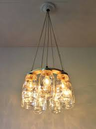 full image for mason jar chandelier hanging mason jar lighting fixture ring with 7 clear quart