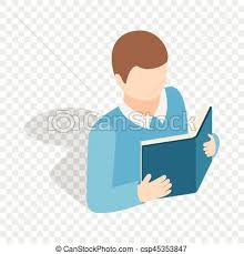 student reading a book isometric icon csp45353847