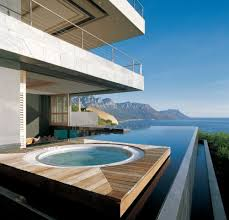 indoor infinity pool. Swimming Pool:Enticing Beachfront Home With Infinity Pool And Wooden Deck Enticing Indoor