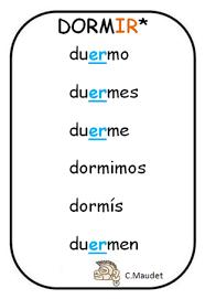 Spanish Words Dormir El Verbo Dormir Spanish Verbs
