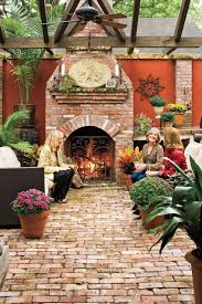 brick patio ideas. A Brick Fireplace And Floor Creates United Chic Look Ties The Parts Of Space Patio Ideas