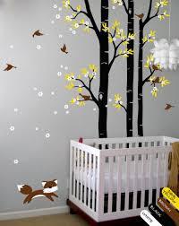 tree wall decal fox birds wall decals flower wall sticker kids fl wall decal nursery decor