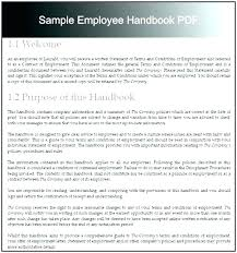 Sample Employee Handbooks Employee Handbook Template Word