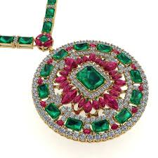 contemporary emerald ruby diamond tennis necklace medallion by juliette wooten yellow gold for