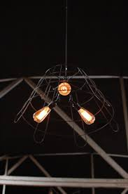 custom big daddy s antiques wire frame light fixture with three edison bulbs