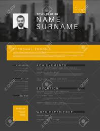 Dark Vector Minimalist Black White And Yellow Cv Resume Template