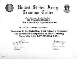 army basic training diploma  us army basic training diploma 2001