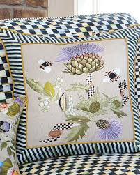mackenzie childs large thistle bee square pillow