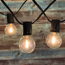 100 Light Warm White C9 String Set 100 Ft Black C9 String Light With Led G40 Vintage Warm White Bulbs