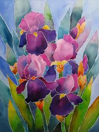 nel s everyday painting watercolor stained glass iris sold