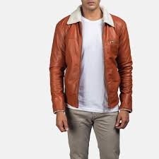 Light Brown Leather Jacket Mens Dan Frost Tan Shearling Jacket