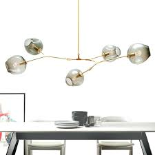 chandeliers lighting modern globe glass bubble pendant lamp natural tree branch suspension light hotel dinning room