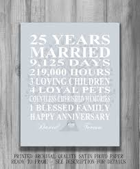 silver 25th anniversary gift personalized by printsbychristine