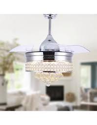 42 modern chrome crystal ceiling fan